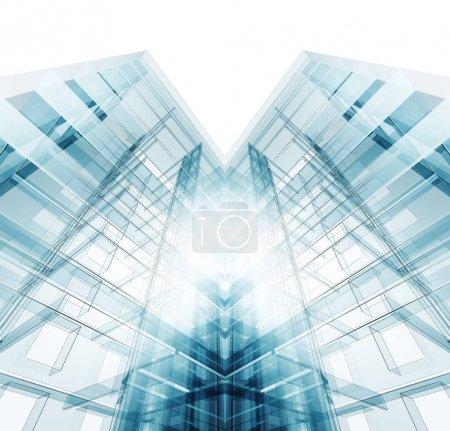 Photo pour Construction architecture moderne. Blanc isolé. Rendu 3d - image libre de droit