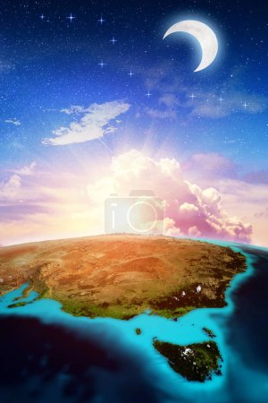 Photo for Australia vertical space background. Elements of this image furnished by NASA. 3d rendering - Royalty Free Image