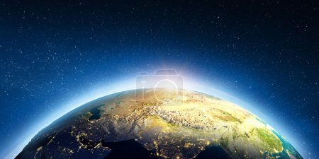 Photo pour Asie centrale depuis l'espace. Éléments de cette image fournis par la NASA. Rendu 3d - image libre de droit