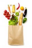 """Постер, картина, фотообои """"Фото бумажный мешок с овощами, сок, апельсин"""""""