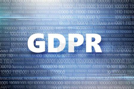 Photo pour Règlement général pour la protection des données personnelles. Inscription sur fond bleu avec le code binaire, gros plan - image libre de droit
