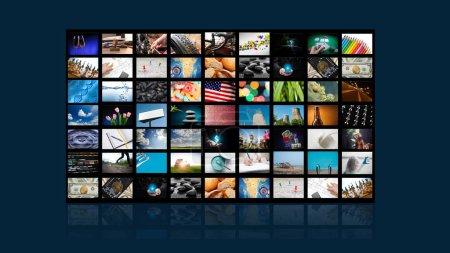 Photo pour Écran de télévision avec beaucoup d'images sur fond bleu - image libre de droit