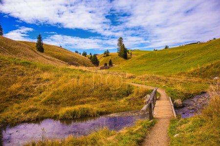 Photo pour Célèbre station de ski. Charmantes collines et vallées au début de l'automne. Pont en bois sur flux. Paysage des Alpes de Siusi. - image libre de droit