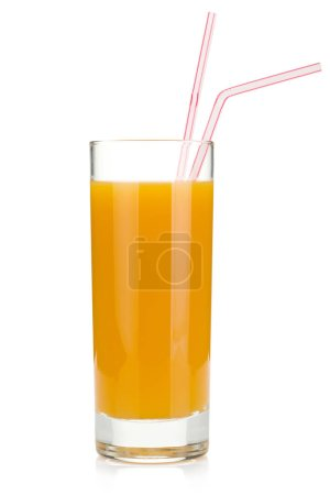Photo for Peach juice in a glass with drinking straw. Isolated on white background - Royalty Free Image