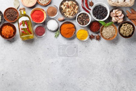 Photo for Set of various spices and herbs on stone background - Royalty Free Image
