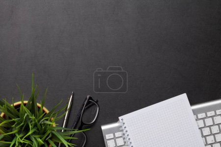 Photo for Office workplace table with supplies and computer. Flat lay. Top view with space for your goals - Royalty Free Image