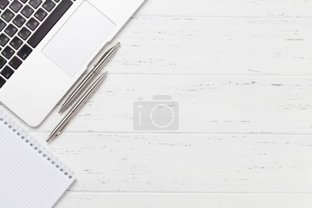 Photo for Office workplace table with supplies and computer. Flat lay. Top view with copy space for your goals - Royalty Free Image