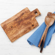 Cooking utensils on wooden kitchen table. Top view...