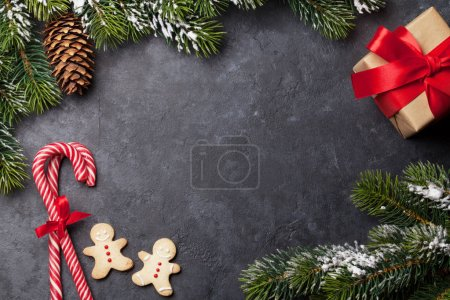 Christmas card with fir tree and cookies
