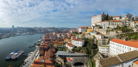 Panoramic aerial view of Porto in beautiful sunny day, Portugal