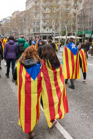 Barcelona, Spain - March 25, 2018: Catalan people at rally demanding independence for Catalonia