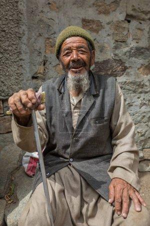 Turtuk, India - June 28, 2017: Unidentified man poses for photo in Turtuk village, Ladakh, India