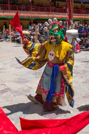 Ladakh, India - July 4, 2017: Hemis Tsechu, Tantric Buddhist ceremony at Hemis monastery, with tantric mask dancing. Drukpa lineage of Kagyu sect.