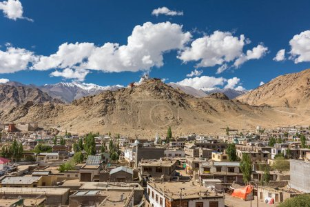 aerial view of Leh city with Tsemo Maitreya temple on top of hill, Jammu and Kashmir, India.