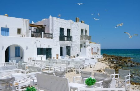 Greek tavern tables and gulls in Naousa town, Paros island, Cyclades, Greece