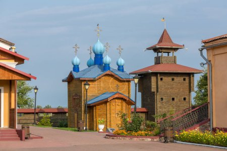 Reconstructed wooden Castle in Mozyr, Southern Belarus