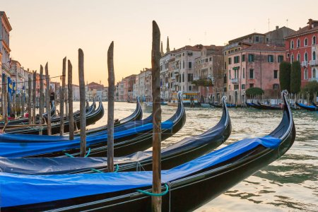 Gondola parking at  Grand Canal in Venice, Italy