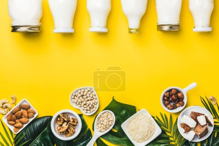 Photo for Dairy free milk substitute drinks and ingredients on yellow background, flat lay. Vegan, vegetarian, clean eating concept - Royalty Free Image