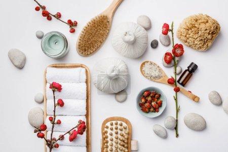 Photo pour Concept de soins spa, composition à plat avec produits cosmétiques naturels et brosses de massage, vue d'en haut - image libre de droit