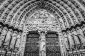 PARIS, FRANCE - NOVEMBER 11, 2017: Cathedral Notre-Dame de Paris - Built in French Gothic architecture, and it is among the largest and most well-known church buildings in the world. Paris.