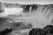 "Постер, картина, фотообои ""Picturesque landscape of mountain waterfall. Black-white photo. """