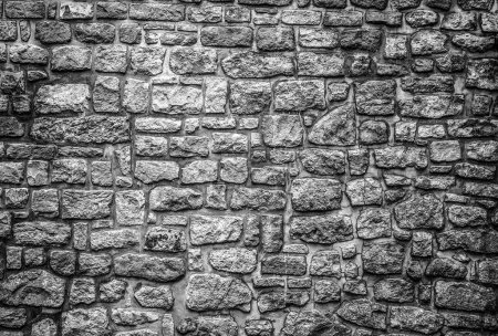 Old stone wall background. Black-white photo.