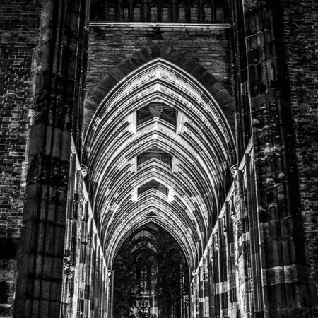 Ancient European church in Utrecht. Black-white photo.