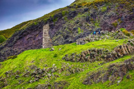 SCOTLAND, UNITED KINGDOM - May 30, 2019: Ancient Scottish medieval buildings and beautiful landscape of traditional nature .