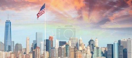Manhattan skyline from Ellis Island, New York.