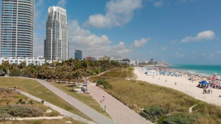 Miami Beach and city skyline from South Pointe, aerial view.