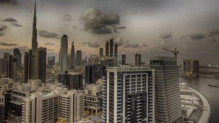 Sunset aerial view of Dubai skyline, UAE.