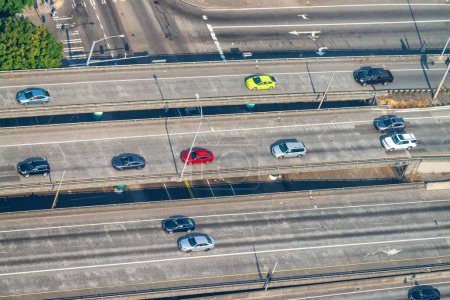 Overhead aerial view of Interstate traffic detail.