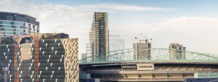 MELBOURNE, AUSTRALIA - NOVEMBER 20, 2015: Panoramic view of Etihad Stadium. It is a multi-purpose sports and entertainment stadium in the Docklands precinct of Melbourne, Victoria, Australia.