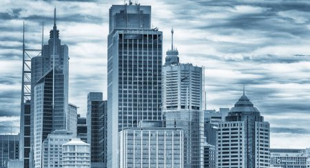 Sydney skyline in black and white.