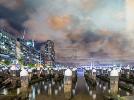 Melbourne Pier in Harbour Esplanade. Night view.