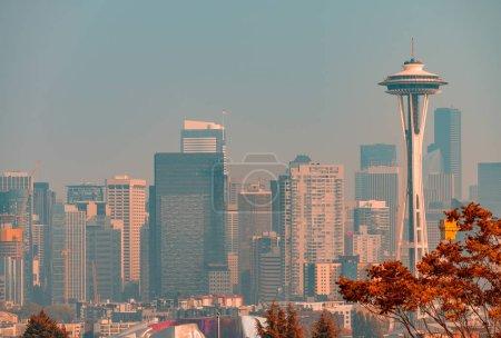 Aerial view of Seattle skyline in autumn season, Washington - USA.