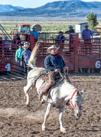 BRYCE CANYON CITY - JUNE 21, 2018: Cowboys ride their horses at a rodeo show at Ruby's Inn Bryce Canyon Country Rodeo.