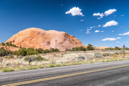 Upheaval Dome road and mountain, Dead Horse Point State Park, Utah - USA.