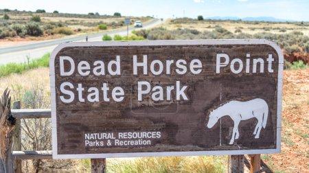 Dead Horse Point State Park entrance sign, Utah.
