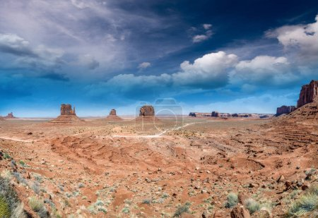 Panoramic sunet view of Monument Valley scenario from visitor center.