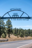 Williams entrance sign, gateway to Grand Canyon.