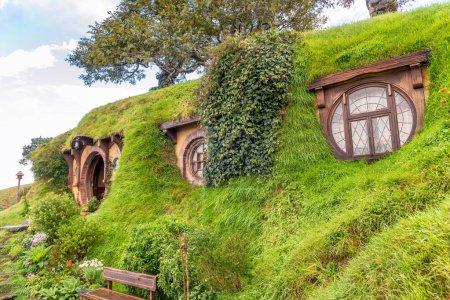 Matamata, New Zealand. Hobbiton - Movie set - Lord of the rings.