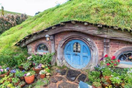 Scenery view of Hobbiton movie set in Alexander Farm, New Zealand.