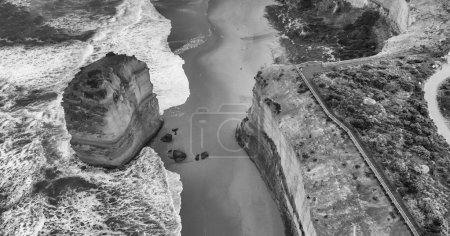 Aerial view of Twelve Apostles in black and white, Port Campbell National Park, Australia.
