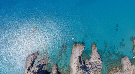 Aerial overhead view of Capo Vaticano coastline in Calabria, Italy.