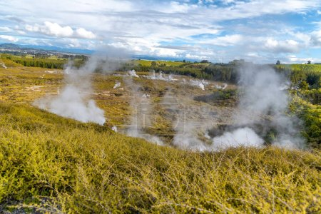 Craters of The Moon, landscape of beautiful geysers, Taupo - New Zealand.