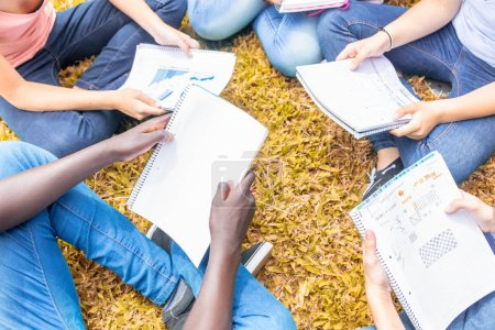 Group of multi ethnic teenagers making lesson on the grass, detail on exercise books.
