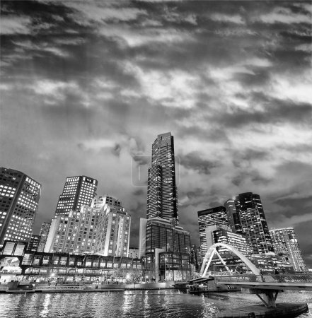 Photo for Night city view of buildings along Yarra River, Melbourne - Royalty Free Image
