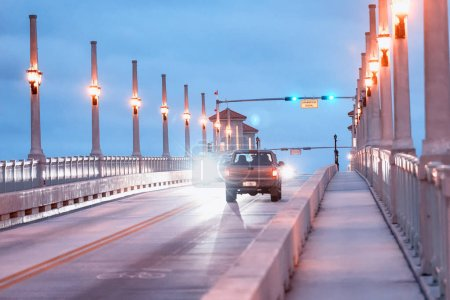 Photo for Night traffic across Bridge of Lions, St Augustine, Florida - USA. - Royalty Free Image