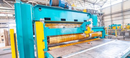 Photo for Steel Cutting Machine. Industrial machine for metel sheet coils cut, business concept. - Royalty Free Image